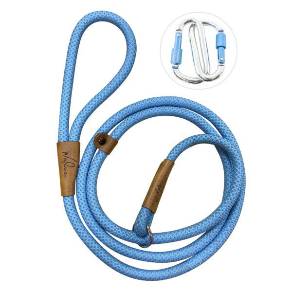 Wooflinen Woof Blue Slip Leash with Carabiners
